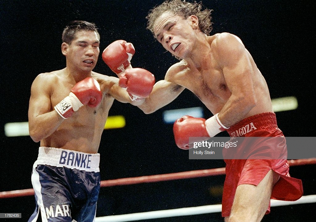 dec-1991-paul-banke-and-daniel-zaragoza-in-action-during-a-bout-picture-id1782435